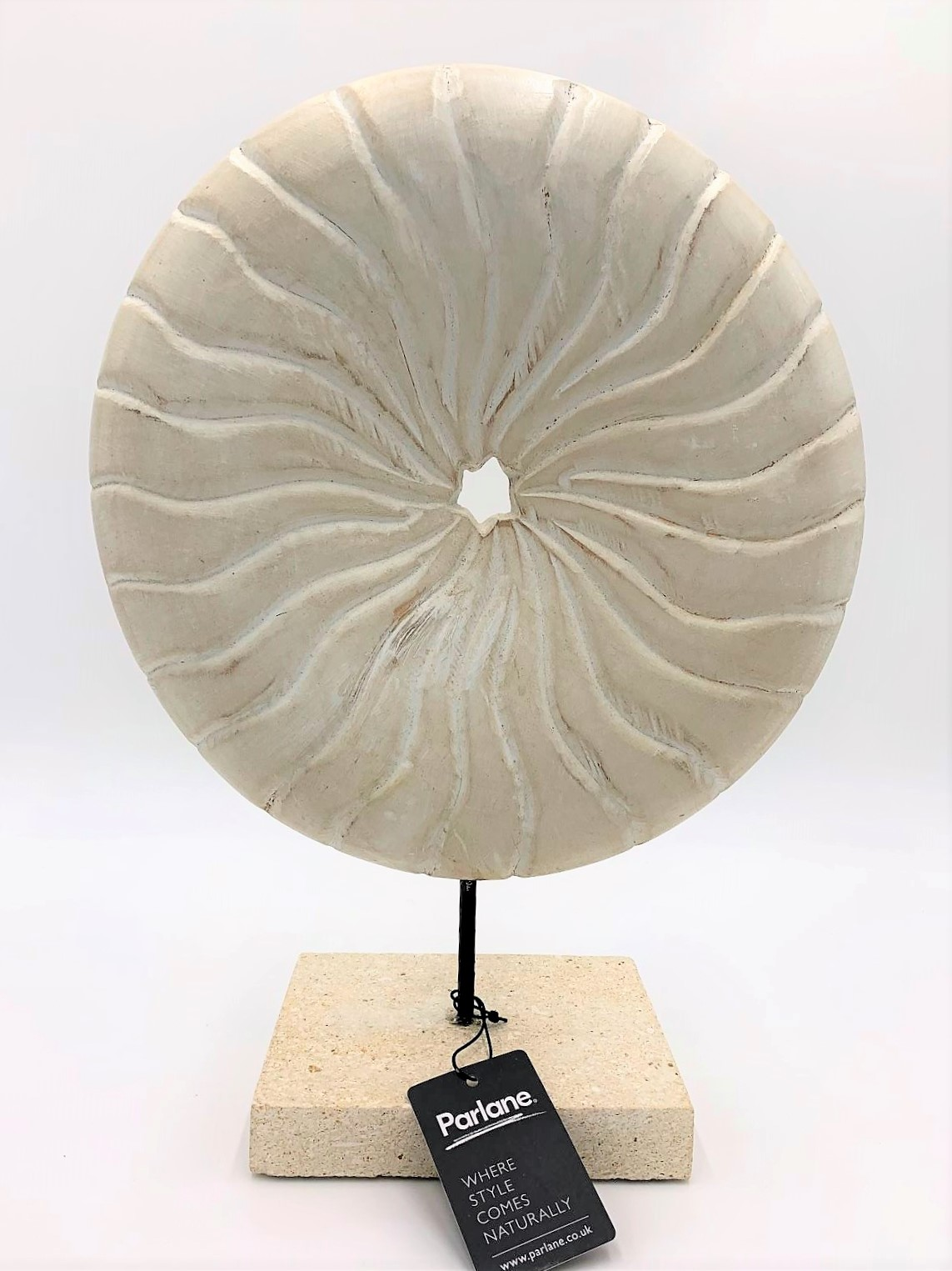 Disc on Stand Wood/Stone white